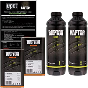 U-POL Raptor Black Urethane Spray-On Truck Bed Liner & Texture Coating, 2 Liters