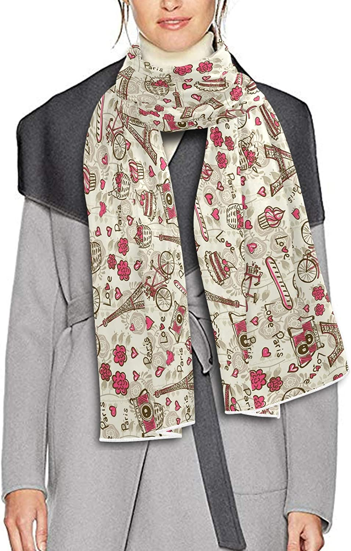 Scarf for Women and Men Paris Vintage Blanket Shawl Scarves Wraps Soft Winter Large Scarves Lightweight