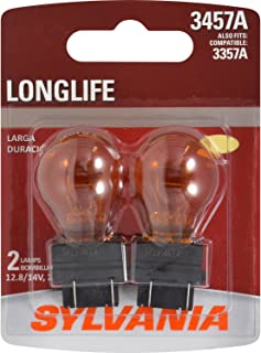 SYLVANIA - 3457A Long Life Miniature - Amber Bulb, Ideal for Park and Turn Lights (Contains 2 Bulbs)