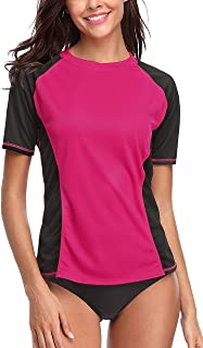 ATTRACO Women Short Sleeve Rash Guard UPF 50+ Rashguard Swimming Sun Shirt Surfing Swimwear
