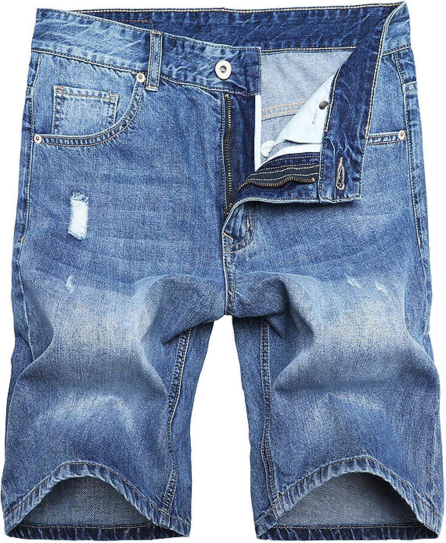 Wantess Men's Denim Shorts Summer Thin Fashion Hole Ripped Casual Breathable