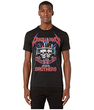 DSQUARED2 Twin Skulls Dan Fit T-Shirt (Black) Men