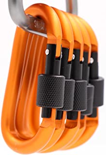 LeBeila Aluminum Carabiner Heavy Duty Climbing Hooks D Shape Buckle Pack Spring Snap Keychain Clip with Screwgate Locking-Outdoor Camping D-Ring Carabiners Hook (Orange-5PCS)