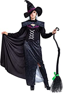 Witch Costume for Women Gothic Wicked Purple Deluxe Set with Cape and Hat Halloween