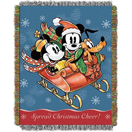 Disneys Mickey Mouse Sleigh Ride Woven Tapestry Throw Blanket