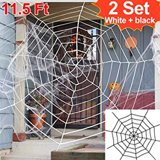 Halloween Spider Web 2PACK Spider Web White 11.5Ft Halloween Outdoor Cobwebs Decorations Outdoor Indoor Yard Haunted House Halloween Decoration Party Favor Cobweb School Deal(1 black +1 white )