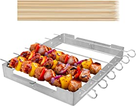 """UNICOOK Upgraded Stainless Steel Barbecue Skewer Shish Kabob Set, 6pcs 13.5""""L Skewer Sticks with Foldable Large Grill Rack, Keeps Kabobs from Sticking to the Grill Grate, 50pcs Bamboo Skewers as Bonus"""