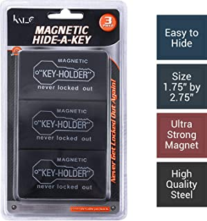 Katzco Magnetic Hide a Key Holder - Fits 2.75 Inch Long Keys, Extra Super Strong Magnet, Good for Extra Spare Car Key, House Key, Warehouse Key, Safe Compartment - Pack of 3