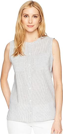 Stripe Linen Sleeveless Shirt