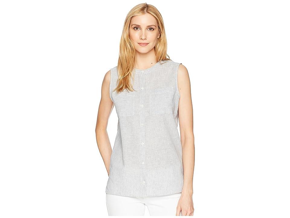 Pendleton Stripe Linen Sleeveless Shirt (Vintage Indigo/Marshmallow) Women