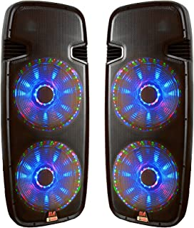 Pair of Dual 15 inch DJ Speakers, Adkins Professional Audio, ELA215P-LED-2