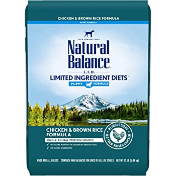 Natural Balance L.I.D. Limited Ingredient Diets Dry Dog Food, 12 Pounds, Chicken & Brown Rice Puppy Formula