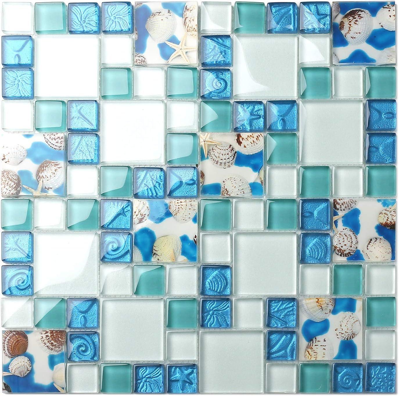 Tst Mosaic Tiles Glass Conch Tiles Beach Style Sea Blue Glass Tile Glass Mosaics Wall Art Kitchen Backsplash Bathroom Design Tstgt370 1 Sample 12x12 Inches Amazon Com