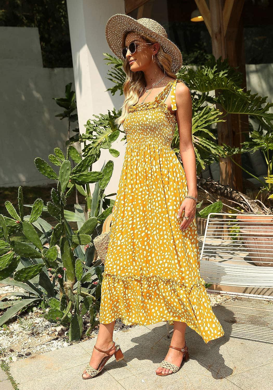 Lucien Hanna Women's Summer Tie Straps Casual Sleeveless Irregular Polka Dot Ruffles Midi Dress