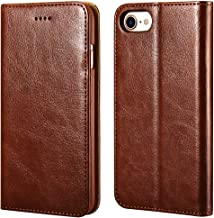 icarercase iPhone 7/8 Wallet Case, Premium PU Leather Folio Flip Cover with Kickstand and Credit Slots for Apple iPhone 7/8 4.7 Inch (Brown)