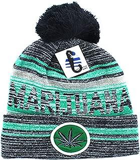 Cannabis Kush Weed Marijuana Leaf Pom Pom Beanie Hat