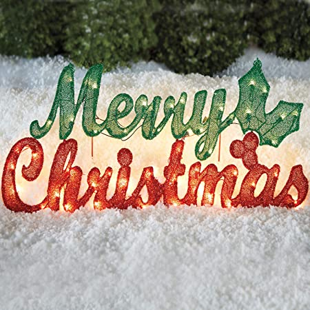 OUTDOOR HOLOGRAPHIC LIGHTED MERRY CHRISTMAS SIGN YARD STAKE WINDOW BAR HOUSE 44/""