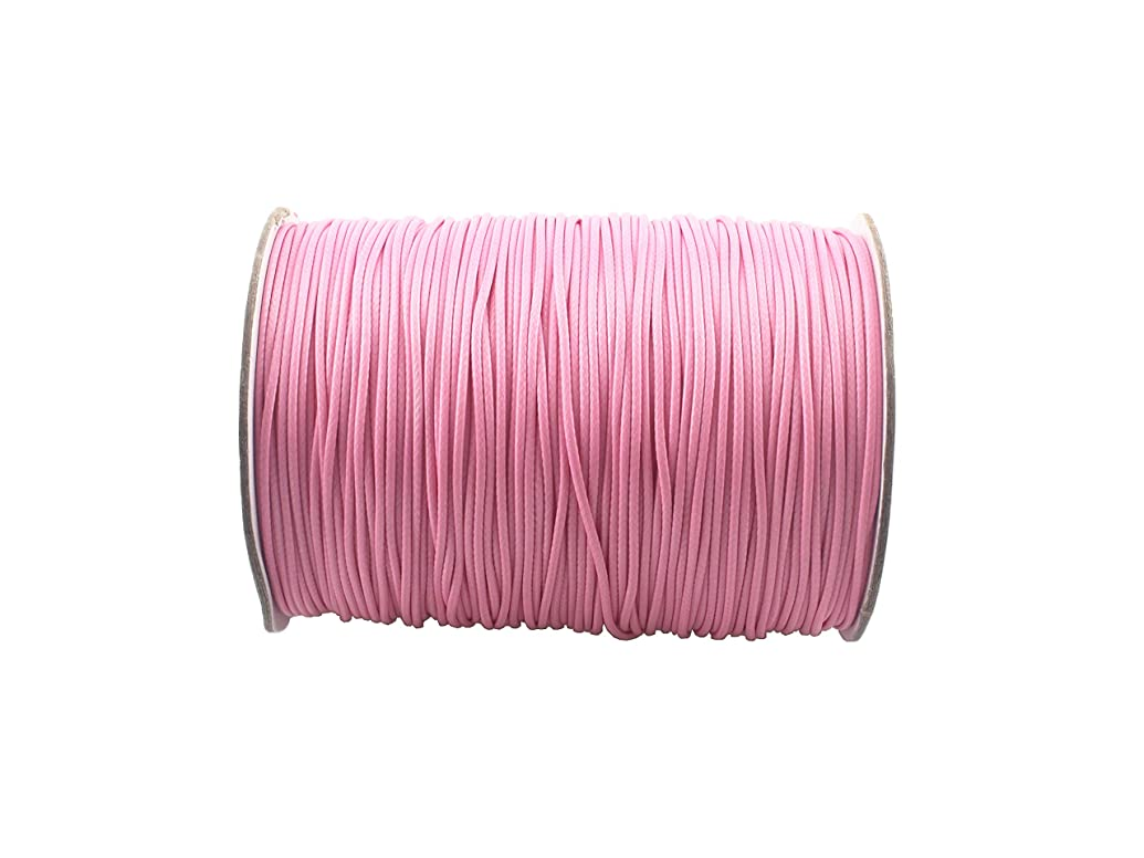 QIANHAILIZZ 200 Yards 1.0 mm Waxed Jewelry Making Cord Waxed Beading String Craft DIY Thread (Pink)