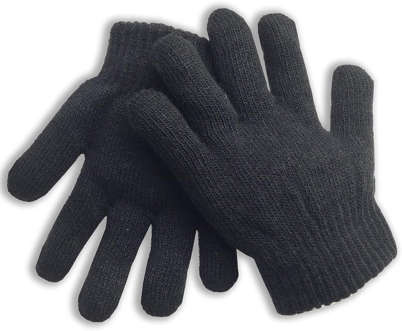 Boys Winter Gloves Knitted - Black - Kids Children's Size (Ages 3-9)