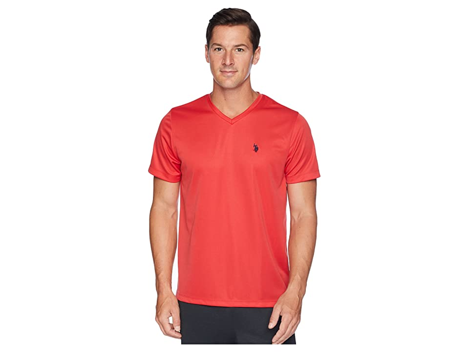 U.S. POLO ASSN. Performance V-Neck T-Shirt (Upstate Red) Men's T Shirt