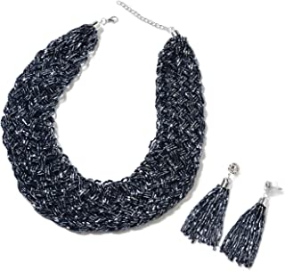 "Tube Seed Bead Tassel Earrings Braided Statement Bib Necklace Jewelry Gift Set for Women 20"""