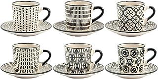 Juego de Seis Tazas de café STW Decoración, Negras con Plato, 90 CC Porcelana H & H