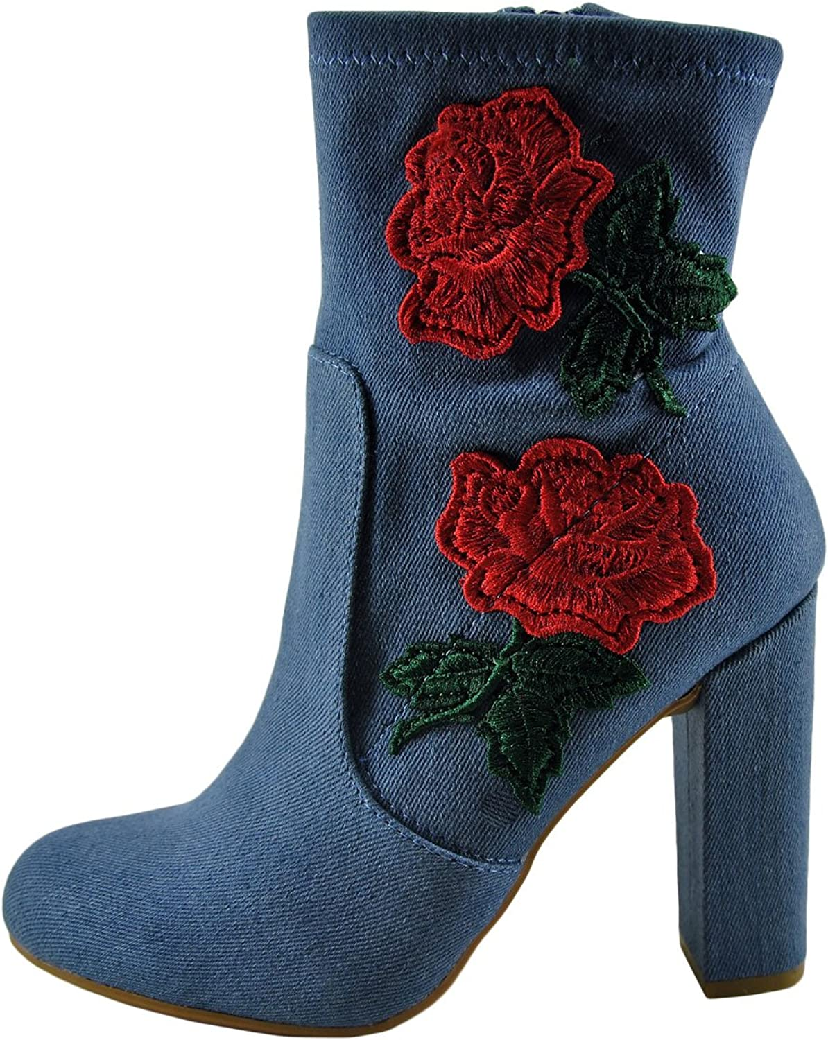 Bamboo Living-21S Women's Floral Embroidered Boot