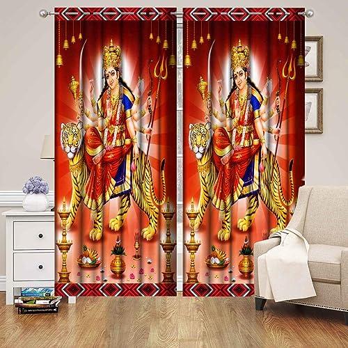 Harshika Home Furnishing Polyester 3D God MATA Rani Printed for Temple Room Use Curtain Multicolour Set of 1 Pecs (Si...