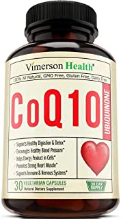 CoQ10 Ubiquinone 200 milligrams. Cardiovascular Health. Promotes Cellular Energy, Supports Healthy Brain, Heart, Blood Pressure, Digestive and Immune Systems. Natural, Non-GMO Coenzyme Q10 Supplement