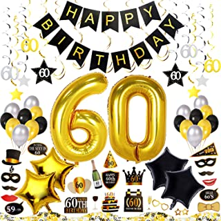 60th Birthday Decorations Kit 79 Pieces – Happy Birthday Banner, 40-Inch 60 Gold balloons, Sparkling Hanging Swirls, Photo Booth Props, 60th Birthday Confetti for Table, Birthday Plan Checklist
