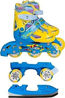 Inline Skates Kinder | NILS| Inliner 3in1 | Verstellbare Schlittschuhe Rollschuhe Größenverstellbar | Pink- Blau –Gelb | G...