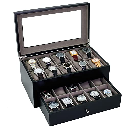 Watch Box for 20 Watches XL Extra Large Compartments Fits 65mm Soft Cushions Clearance