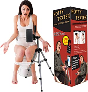 Potty Texter Bathroom Cell Phone Holder � Hands Free Bathroom Texting Funny Gifts for Teens White Elephant Gifts Millennial Gifts Smartphone Tripod for Phones Unisex Gag Gift Hilarious Novelty