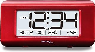 Technoline WT 197 - Despertador de Cuarzo con Marco de Metal, Color Rojo