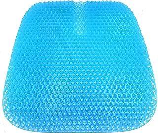 VAIYNWOM Cojines para Sillas de Gel, Cojines para Sillas con Estructura de Panal Transpirable, Cojín Ortopédico de Gel para Casa Oficina Coche, con Funda de Tela Negra, 47 * 42 * 3 cm, Azul
