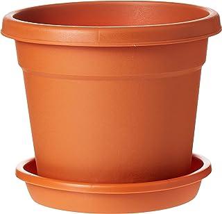 "Cosmoplast Plastic Round Flowerpot 8"" with Tray, Terracotta"