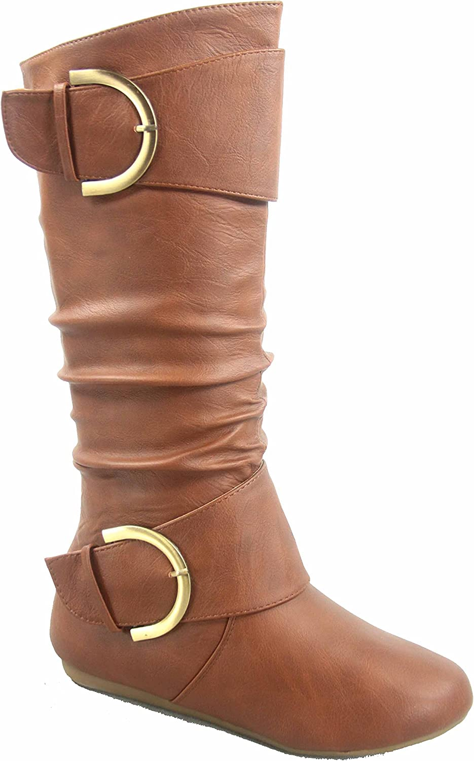 TOP Moda Bank-85 Women's Fashion Mid Calf Round Toe Slouch Comfort Casual Flat Boot