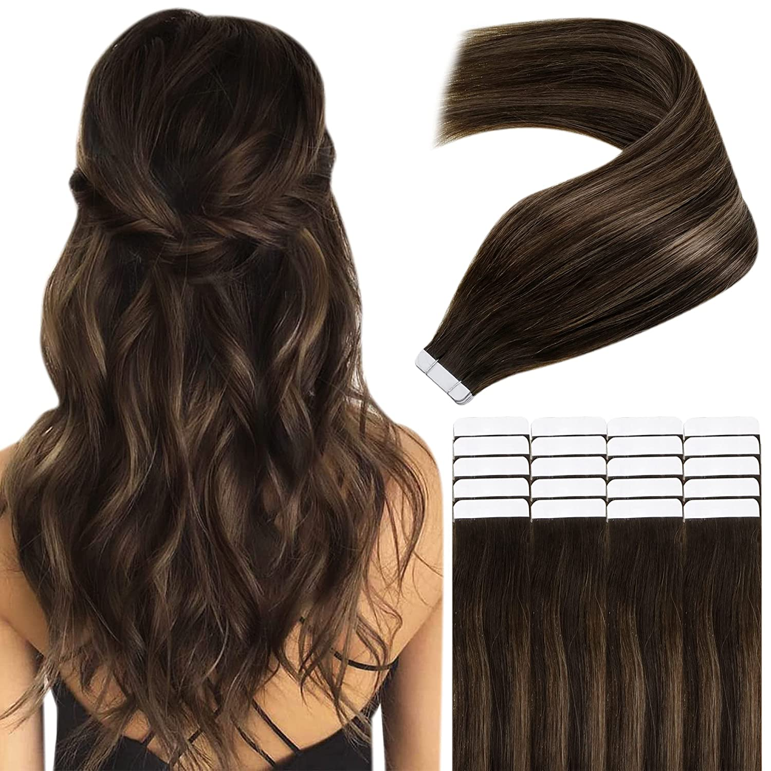 Easyouth Tape El Paso Mall New Orleans Mall in Human Hair Extensions Women Darkest Color for B