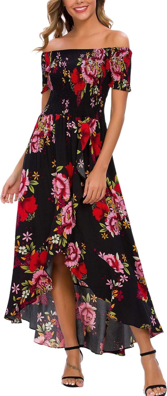 Kormei Women Short Sleeve Off Shoulder Floral High Low Flowy Summer Party Long Maxi Dress