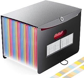 Accordian File Organizer, 24 Pockets Expanding File Folder with Expandable Cover/Portable Desktop A4 Letter Size File Box,...