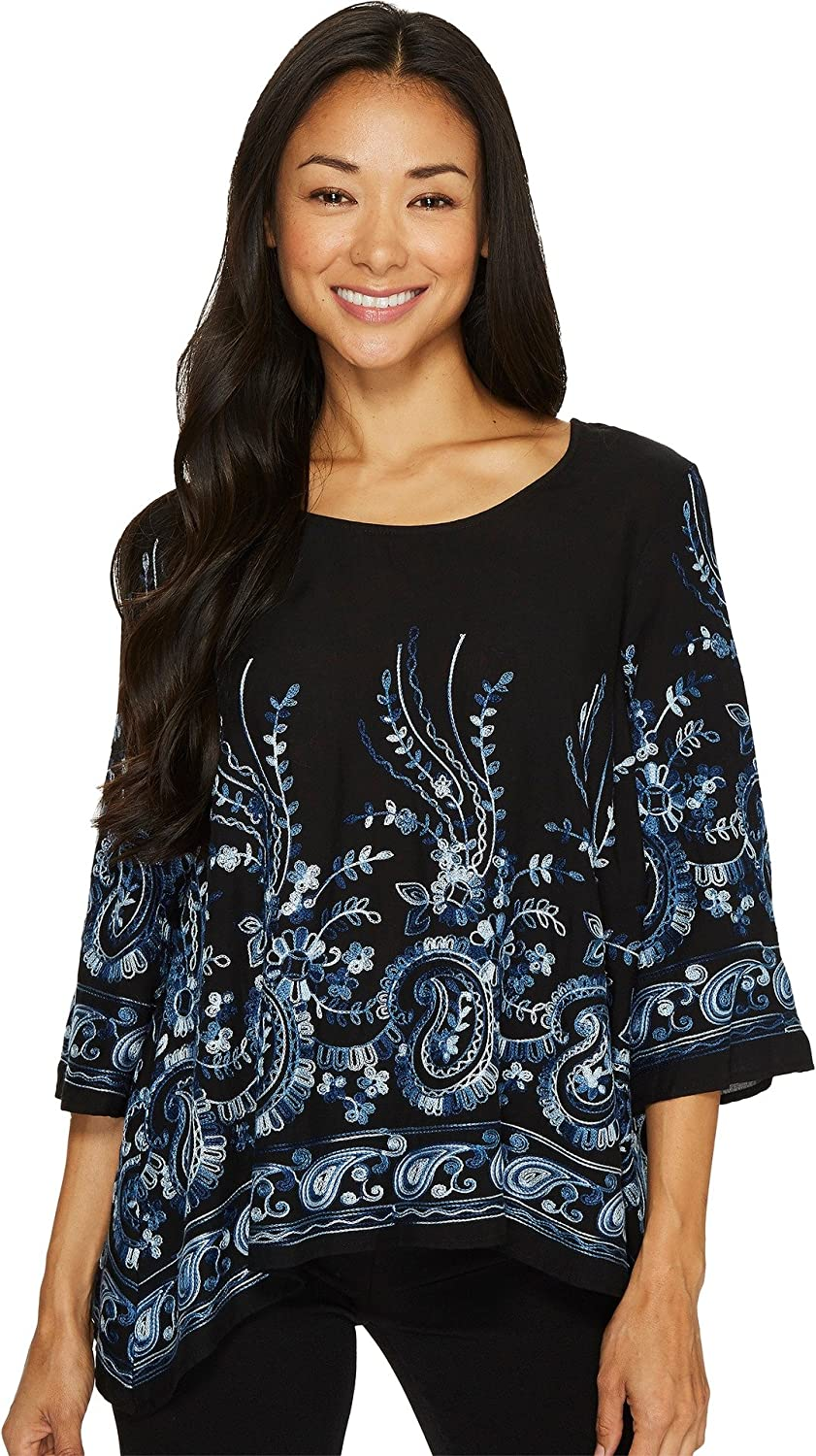 Karen Kane Womens Embroidered 3 4 Sleeve Top