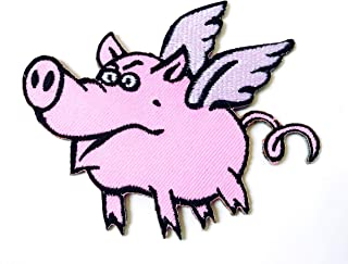 Pink Flying Pig Animal Wings Wild Hog Logo Embroidered Sew on Iron on Patch for Backpacks Jeans Clothing etc.