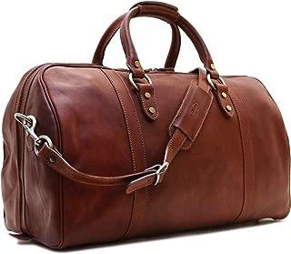 Roma Cabin Bag Saddle Brown Italian Leather Weekender Duffle