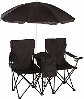 Trademark Innovations Double Folding Camp and Beach Chair with Removable Umbrella and Cooler, Black