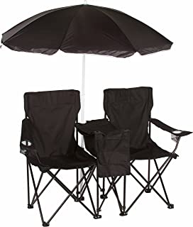 Trademark Innovations Double Folding Camp and Beach Chair with Removable Umbrella and Cooler