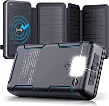 Solar Charger - 30000mAh Solar Power Bank with 4 Solar Panels - PD 18W Type C Fast Charge External Battery Pack, Portable ...