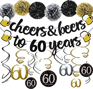 60th Birthday Party Decorations Kit Cheers & Beers to 60 Years Banner 6 Pom Poms 12-Pack Sparkling 60 Hanging Swirl for 60th Anniversary Decorations 60 Years Old Party Supplies