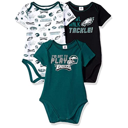 4592f65aea0 NFL Philadelphia Eagles Unisex-Baby 3-Pack Short Sleeve Bodysuits, Green, 0