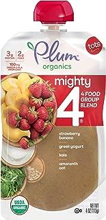 Plum Organics Mighty 4, Organic Toddler Food, Strawberry, Banana, Greek Yogurt, Kale, Amaranth and Oat, 4 Ounce (Pack of 12) (Packaging May Vary)