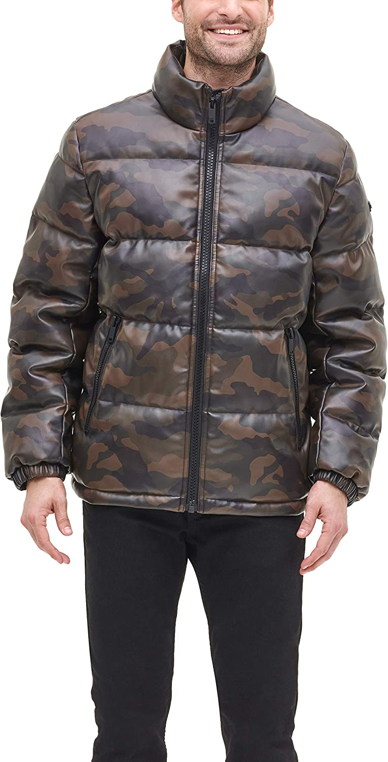 DKNY Men's Faux Leather Quilted Ultra Loft Puffer Jacket